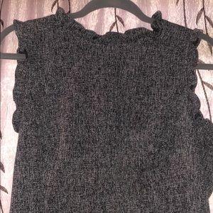 LOFT tweed sheath dress with ruffle details